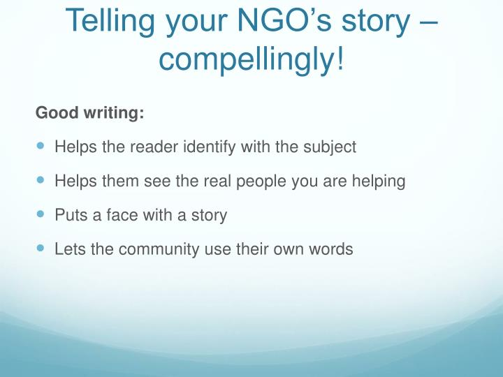 Telling your NGO's story – compellingly!