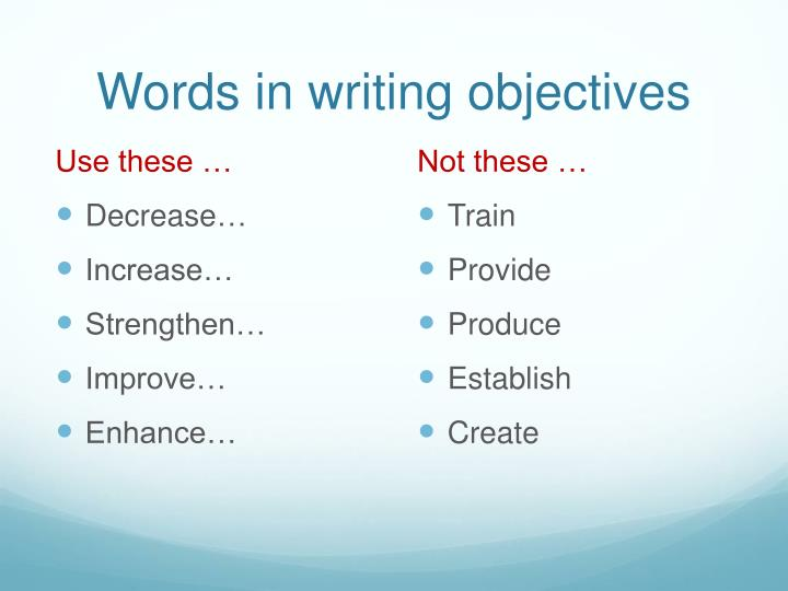 Words in writing objectives