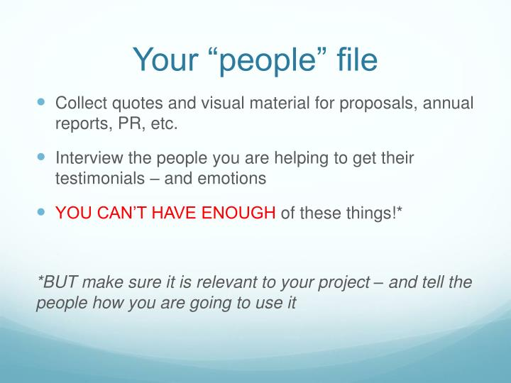 "Your ""people"" file"