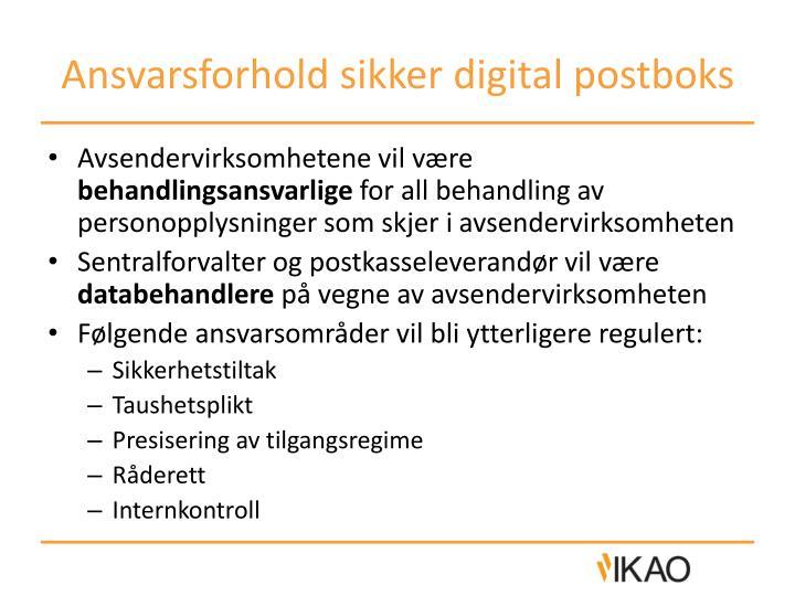 Ansvarsforhold sikker digital postboks