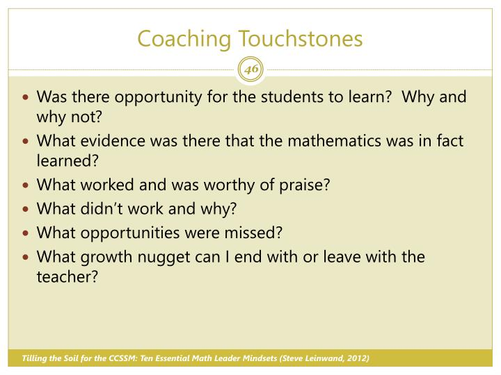 Coaching Touchstones