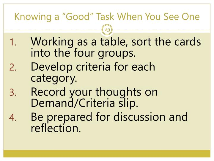 """Knowing a """"Good"""" Task When You See One"""