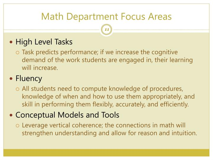 Math Department Focus Areas