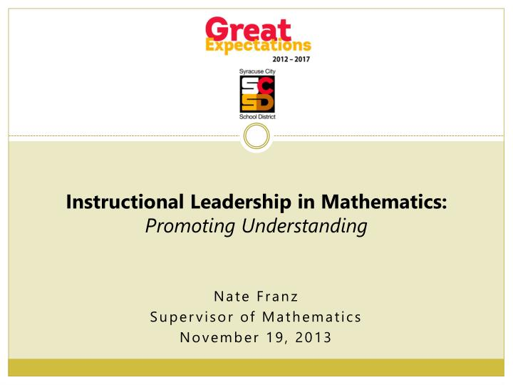 Nate franz supervisor of mathematics november 19 2013