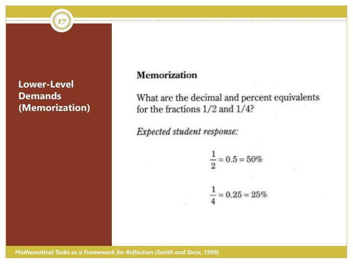 Lower-Level Demands (Memorization)