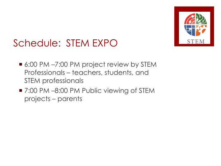 Schedule:  STEM EXPO