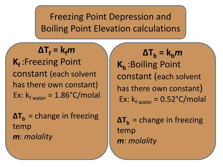 Freezing Point Depression and Boiling Point Elevation calculations