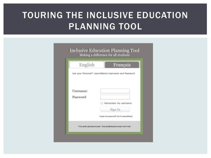 Touring the Inclusive Education Planning Tool