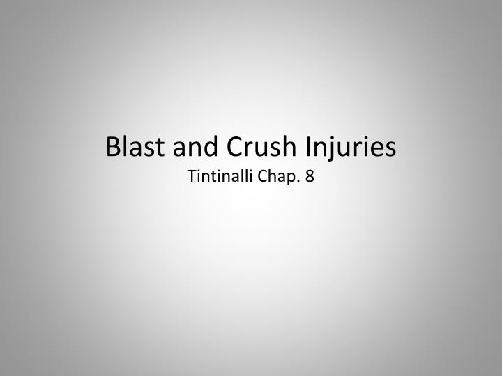 Blast and crush injuries tintinalli chap 8