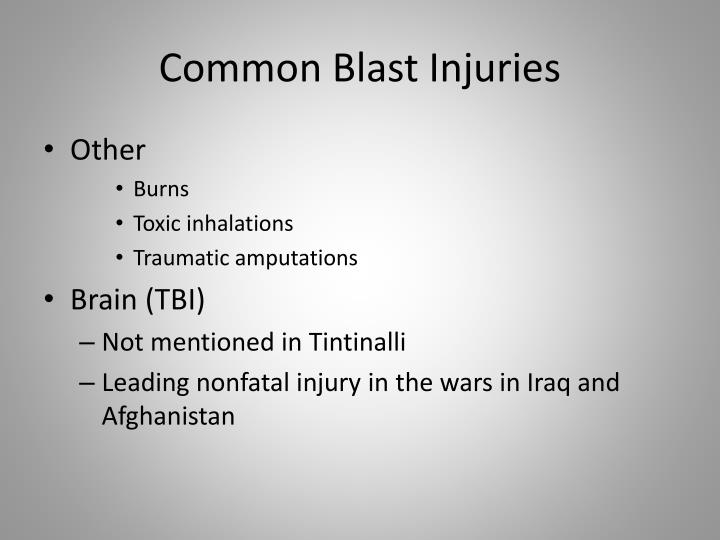 Common Blast Injuries