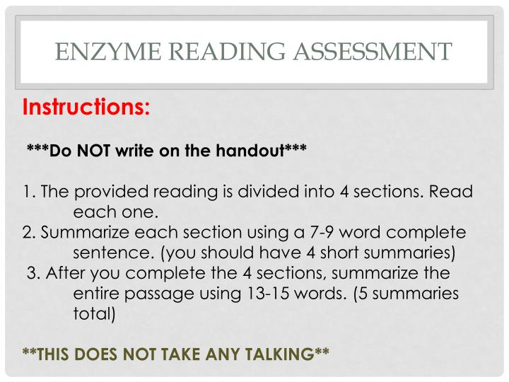 Enzyme Reading Assessment