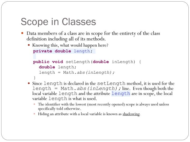 Scope in Classes