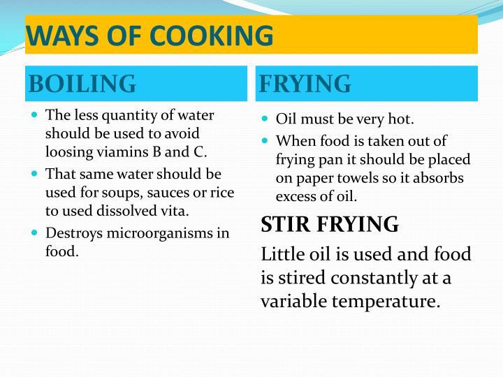 WAYS OF COOKING