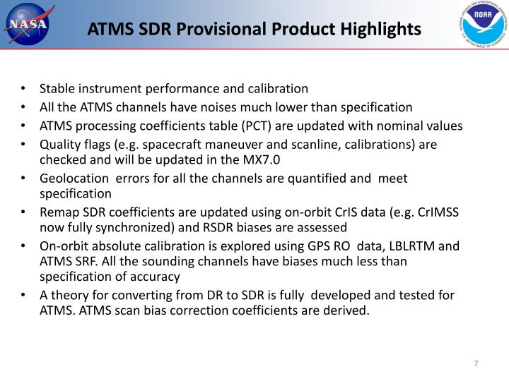 ATMS SDR Provisional Product Highlights