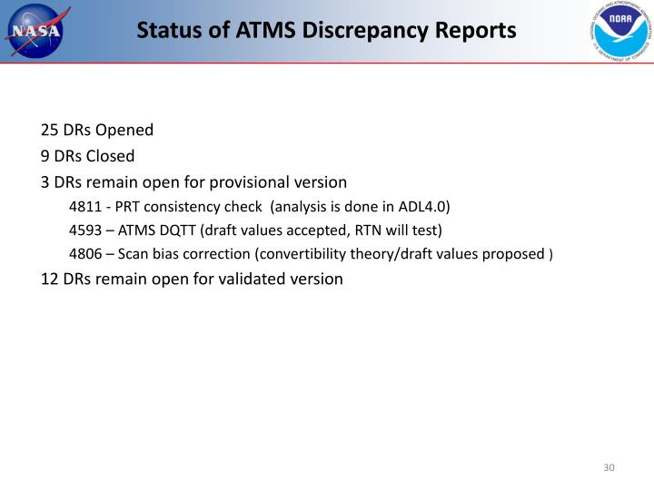 Status of ATMS Discrepancy Reports