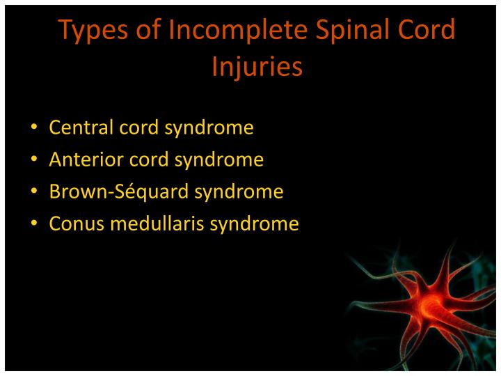 Types of Incomplete Spinal Cord Injuries