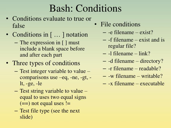 Bash: Conditions