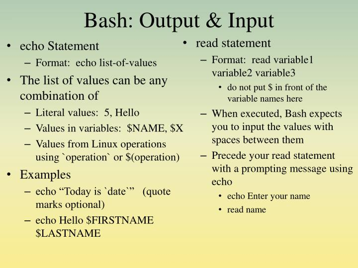 Bash: Output & Input