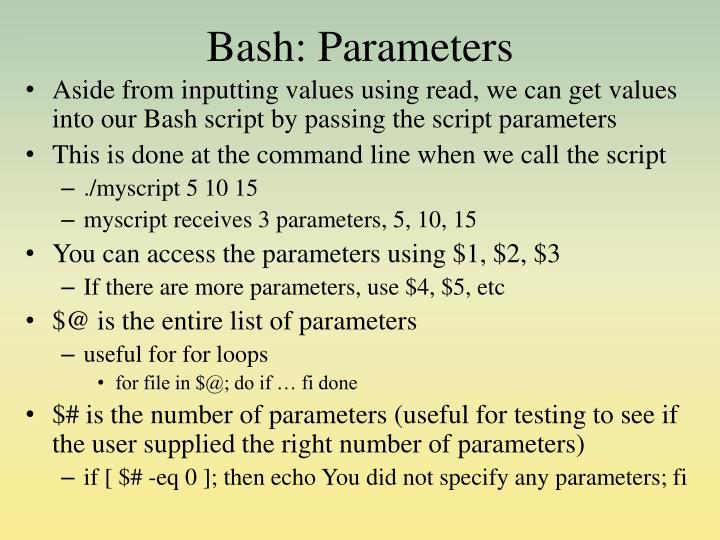 Bash: Parameters