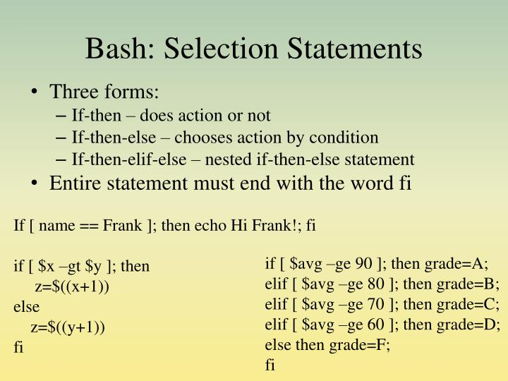 Bash: Selection Statements