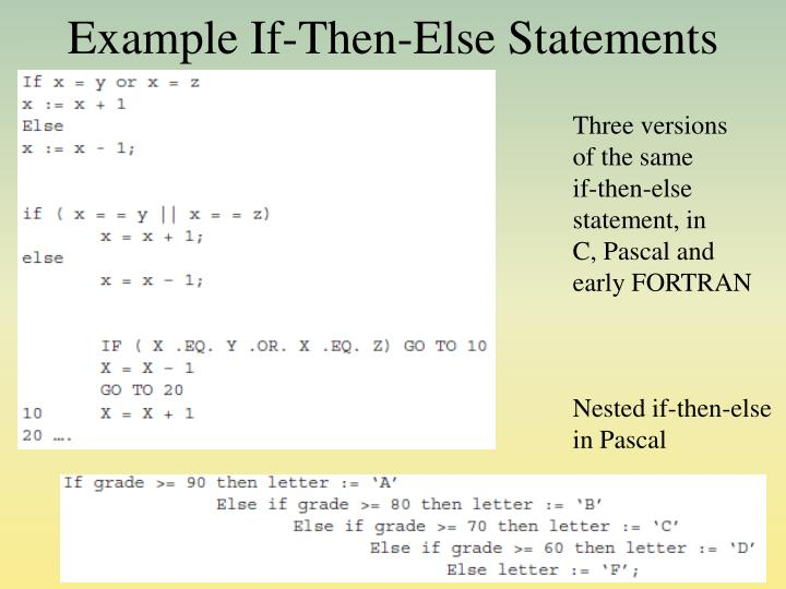 Example If-Then-Else Statements
