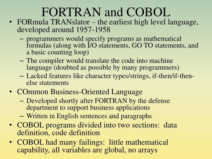 FORTRAN and COBOL