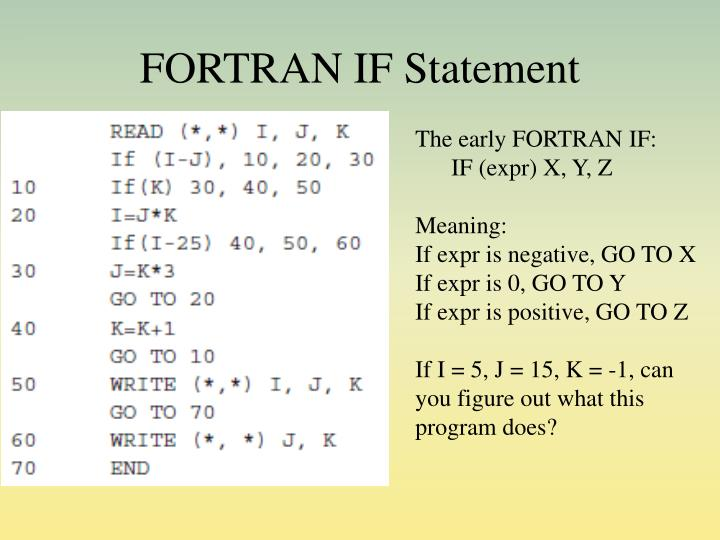 FORTRAN IF Statement