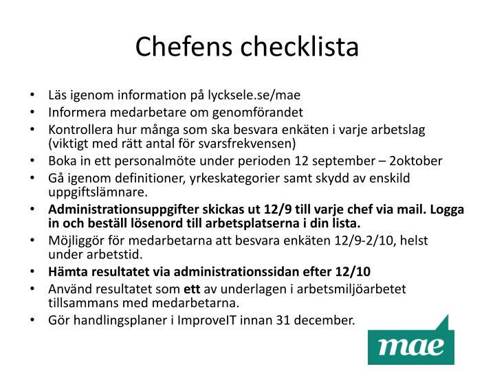 Chefens checklista