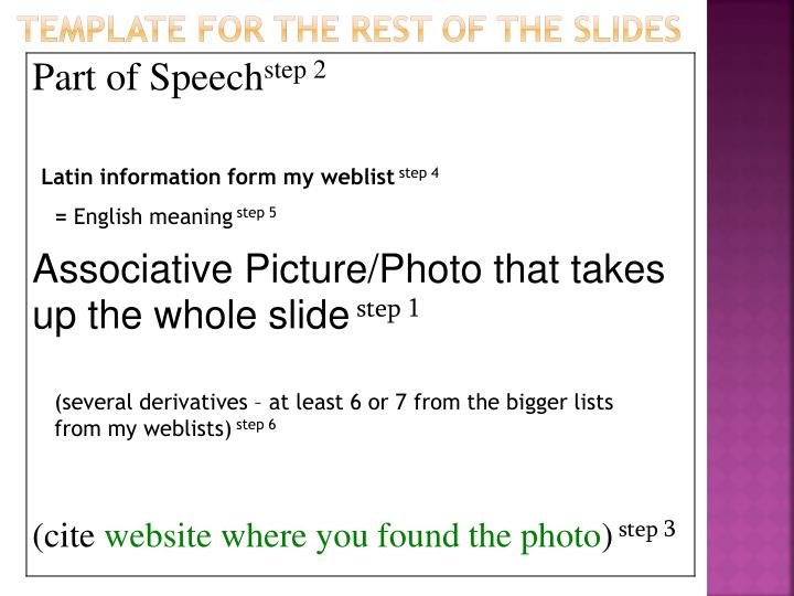 Template for the rest of the slides