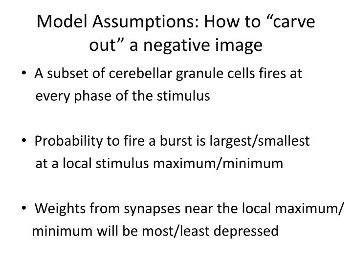 "Model Assumptions: How to ""carve out"" a negative image"