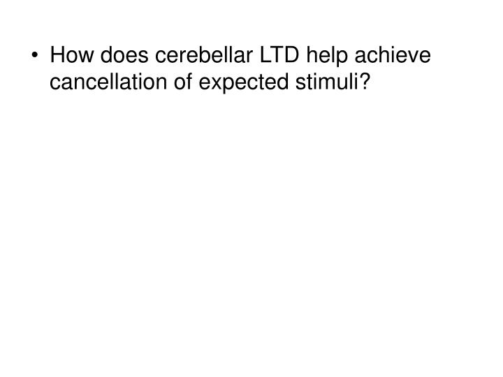 How does cerebellar LTD help achieve cancellation of expected stimuli?