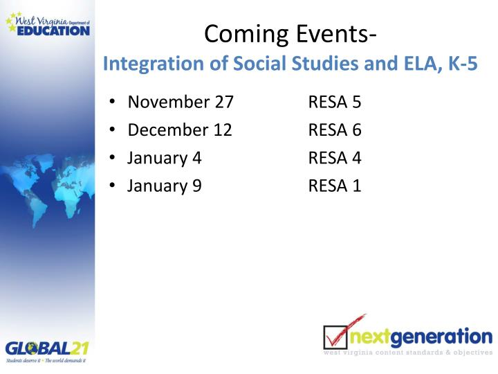 Coming Events-