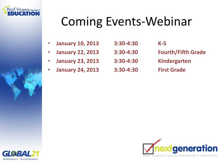 Coming Events-Webinar