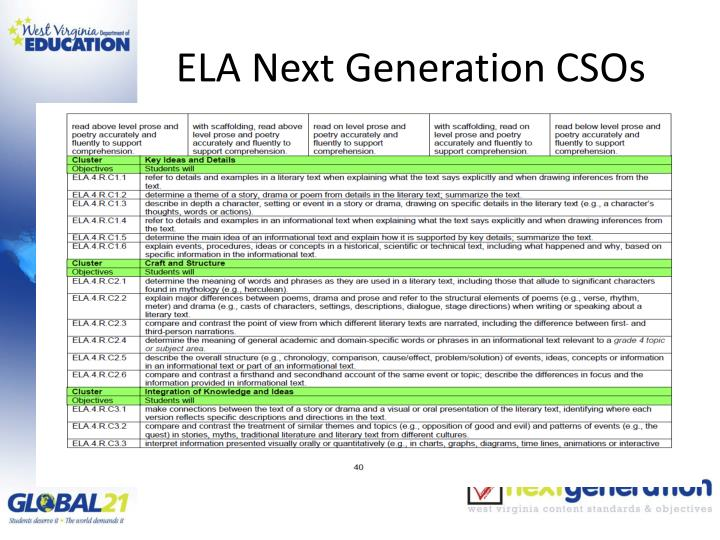 ELA Next Generation CSOs