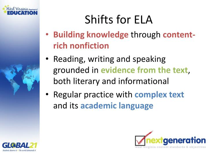 Shifts for ela