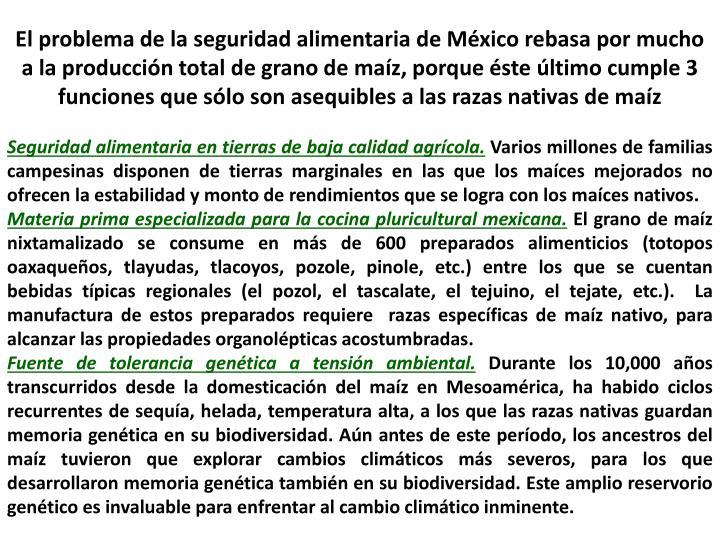El problema de la seguridad alimentaria de México rebasa por mucho