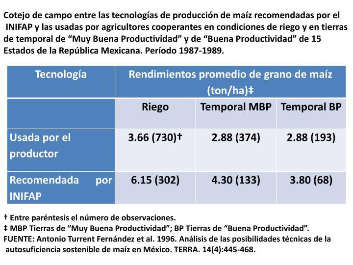 Cotejo de campo entre las tecnologías de producción de maíz recomendadas por el