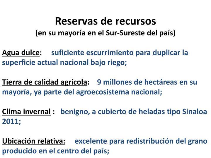 Reservas de recursos