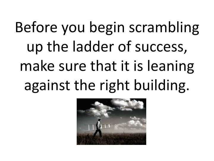 Before you begin scrambling up the ladder of success, make sure that it is leaning against the right building.