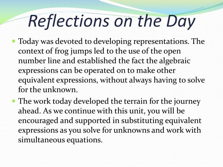 Reflections on the Day