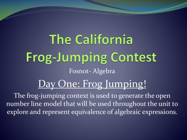 The california frog jumping contest