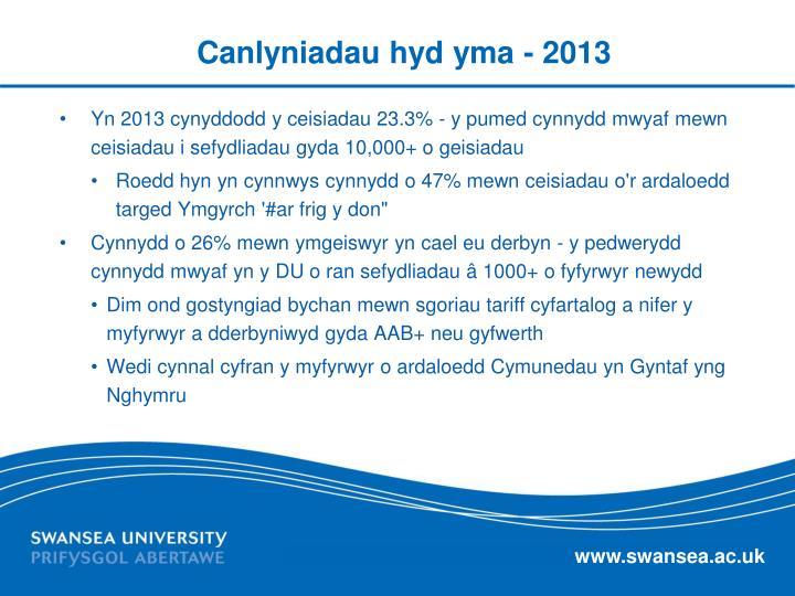 Canlyniadau hyd yma - 2013