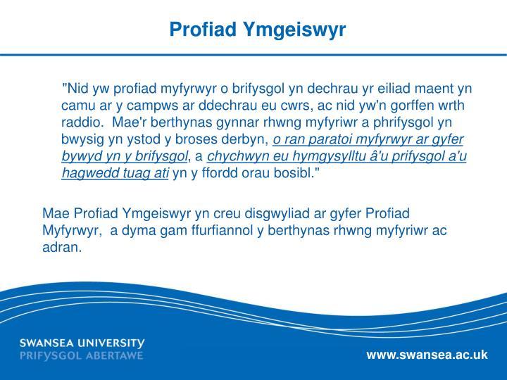 Profiad Ymgeiswyr