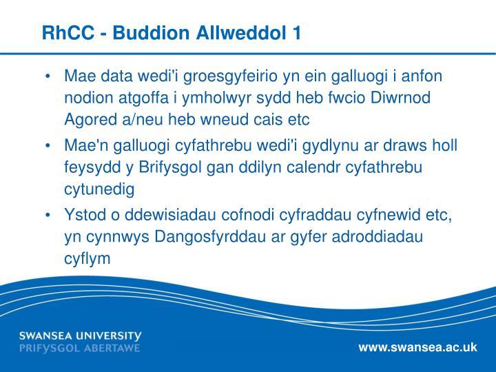 RhCC - Buddion Allweddol 1
