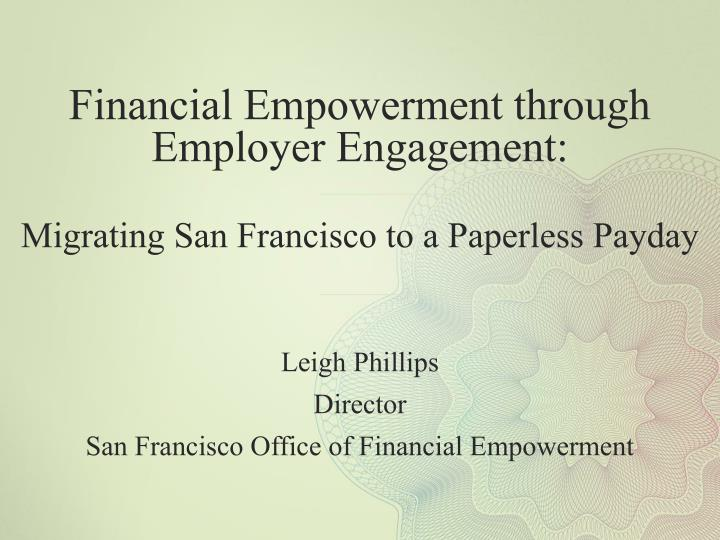 Financial Empowerment through Employer Engagement: