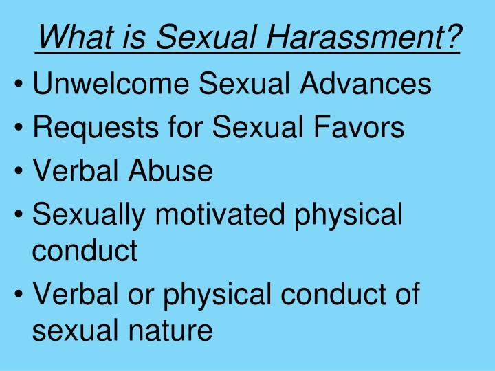 What is verbal sexual harrassment