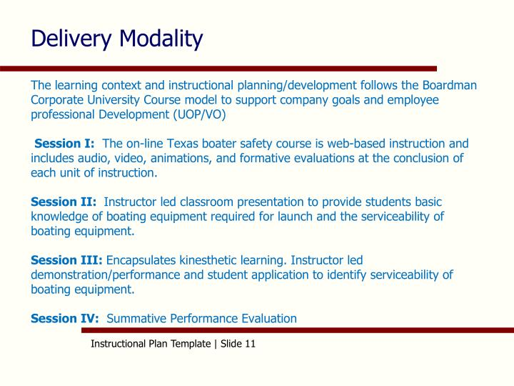 Delivery Modality