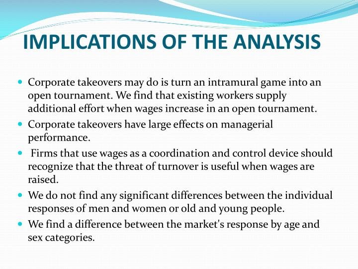 IMPLICATIONS OF THE ANALYSIS