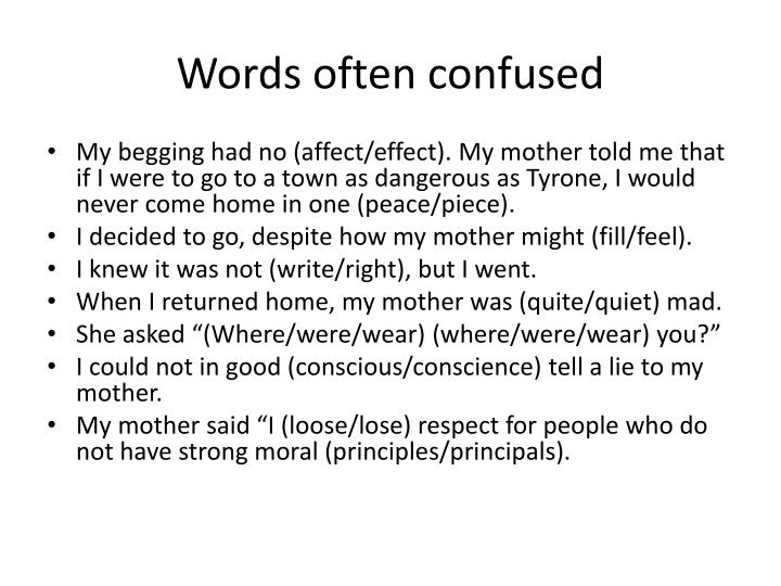 Words often confused