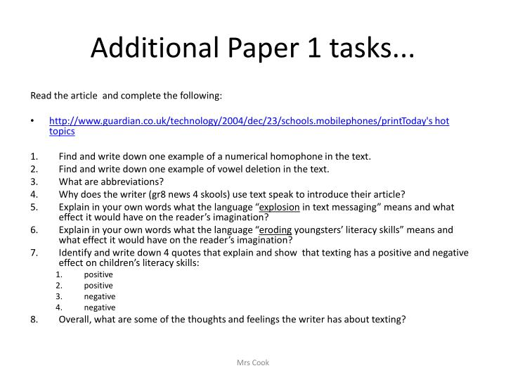 Additional Paper 1 tasks...
